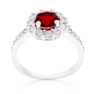 Kate Bissett Garnet Halo Engagement Ring