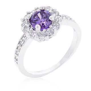 Kate Bissett Platinum Overlay Cubic Zirconia Lavender Halo Engagement Ring - Purple