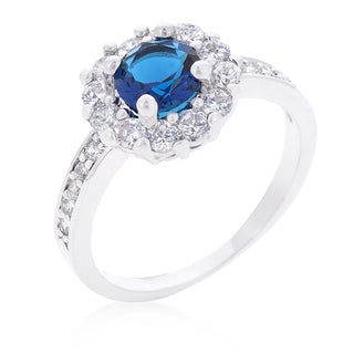 Kate Bissett Sapphire Blue Halo Engagement Ring