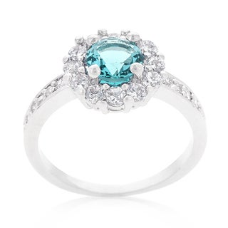 Kate Bissett Bella White Platinum Overlay Blue Cubic Zirconia Birthstone Engagement Ring