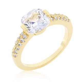 Kate Bissett Clear Cushion-cut Cubic Zirconia Engagement Ring - White