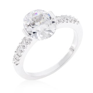Kate Bissett White Brass Clear Oval Cubic Zirconia Engagement Ring