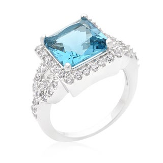 Kate Bissett Brass Cubic Zirconia Halo Style Princess Cut Aqua Blue Cocktail Ring