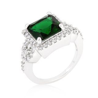 Kate Bissett White Platinum Overlay Emerald Halo-style Princess-cut Cocktail Ring - Green
