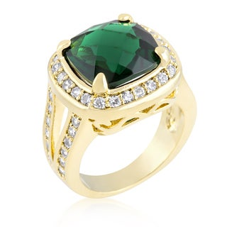 Kate Bissett Cushion-cut Emerald Green Cocktail Ring