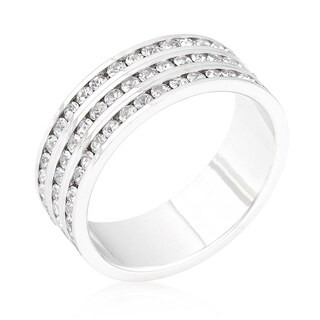 Kate Bissett White Platinum Overlay Crystal Triple-row Eternity Band