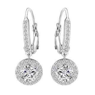14k White Gold over Brass Cubic Zirconia Earrings