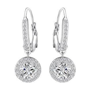 14k White Gold over Brass Cubic Zirconia Earrings