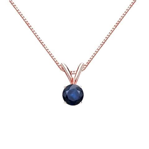 Auriya 1/4ct Round Solitaire Blue Sapphire Necklace 14K Gold