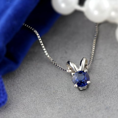 Auriya 1/4ct Round Solitaire Blue Sapphire Necklace 14K Gold