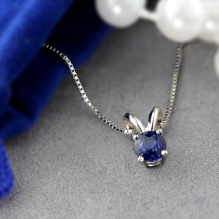 Auriya 14k Gold 1/4ct Round Blue Sapphire Solitaire Pendant Necklace
