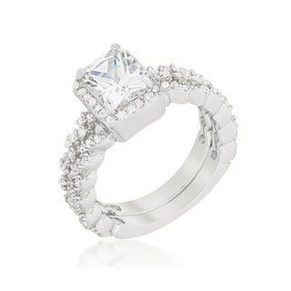 Kate Bissett Halo Platinum Overlay Cubic Zirconia Radiant Wedding Set