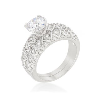Kate Bissett Brass Cubic Zirconia Unique Wedding Set - White