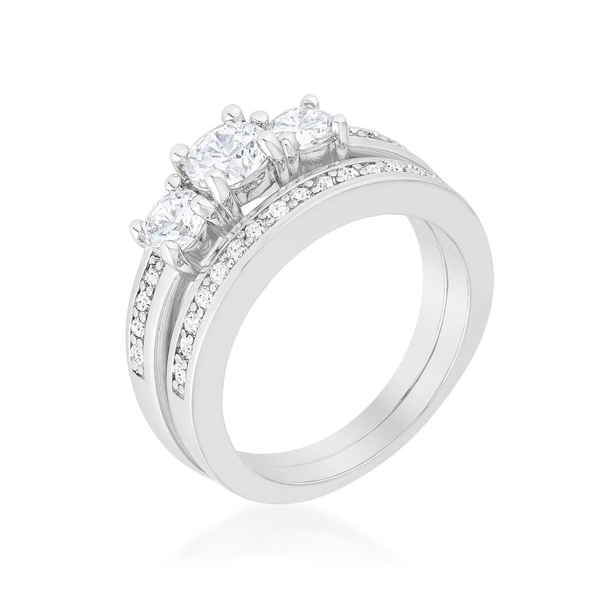Kate Bissett Three-stone Wedding Ring Set - White (7), Wo...