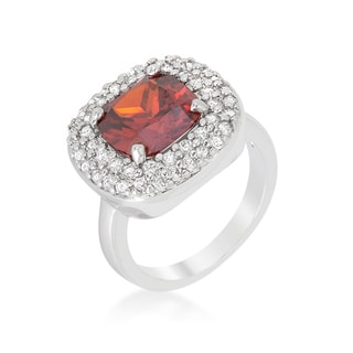 Kate Bissett Red Micropave Bridal Cocktail Ring