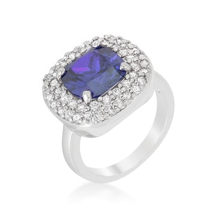Kate Bissett Brass Cubic Zirconia Micropave Lavender Purple Bridal Cocktail Ring