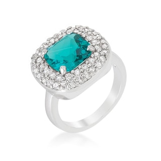 Kate Bissett Micropave Aqua Bridal Cocktail Ring
