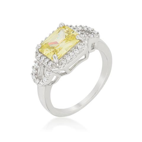 Kate Bissett White Brass Green Cubic Zirconia Radiant-cut Halo Ring
