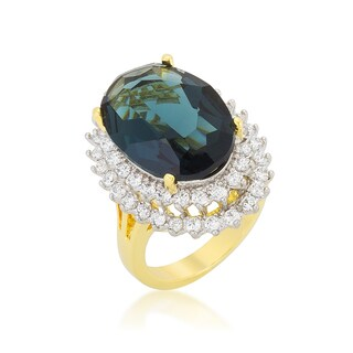 Kate Bissett Two-tone Double Halo Cocktail Ring - Blue