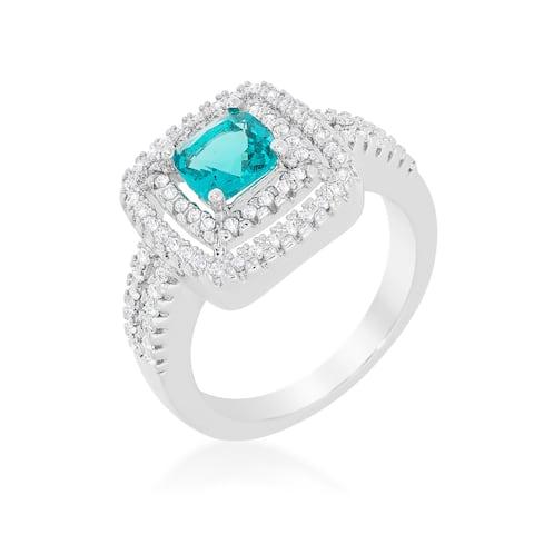 Kate Bissett White Brass Aqua Cubic Zirconia Micro-pave Vintage Ring - Blue