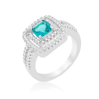 Kate Bissett White Brass Aqua Cubic Zirconia Micro-pave Vintage Ring