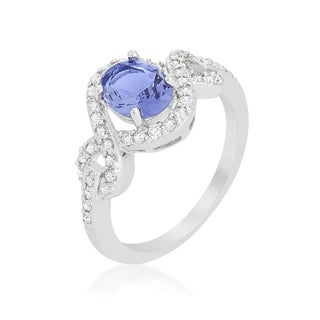 Kate Bissett Tanzanite Halo Pave Cocktail Ring - Purple