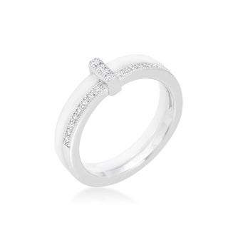 Kate Bissett Sterling Silver Cubic Zirconia White Ceramic Band Ring