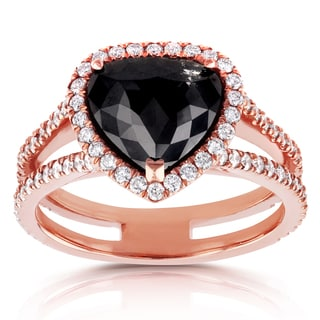 Annello 14k Rose Gold 2 3/4ct TDW Pear Shape Black and White Diamond Halo Ring (G-H, I1-I2) - Size 7