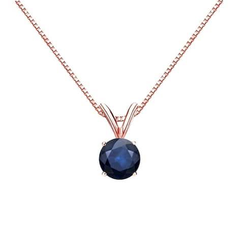 Auriya 1/2ct Round Solitaire Blue Sapphire Necklace 14K Gold