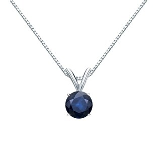 Auriya 14k Gold 1/2ct Round-Cut Blue Sapphire Gemstone Solitaire Necklace