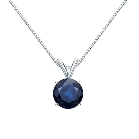 Auriya 14k Gold Blue Sapphire Solitaire Necklace 1ctw