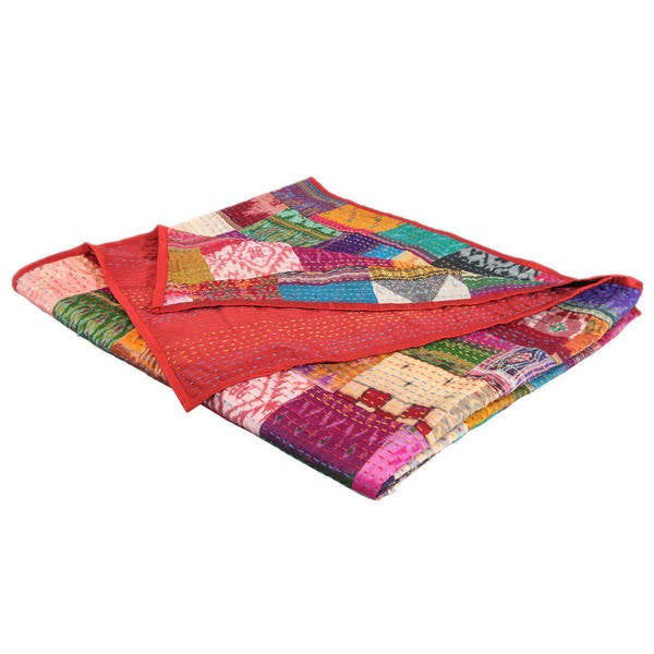 Responsible Indian Kantha Quilt King Bedsheet Handmade Patchwork Bedcover Cotton Bedspread15 High Safety Home & Garden