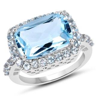 Malaika 0.925 Sterling Silver 8.08 Carat Genuine Blue Topaz Ring