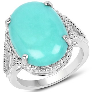 Malaika 0.925 Sterling Silver 9.53-carat Turquoise and White Topaz Ring