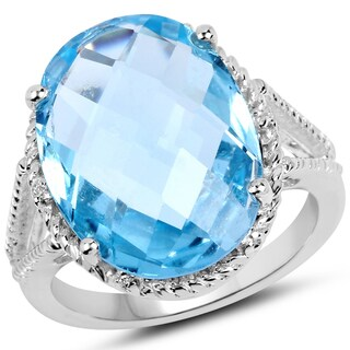 Malaika .925 Sterling Silver 12.78-carat Blue and White Topaz Ring