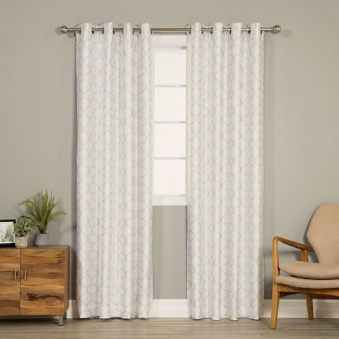Aurora Home Faux Silk Reverse Quatrefoil Blackout Curtain Panel - 52 x 84 - 52 x 84