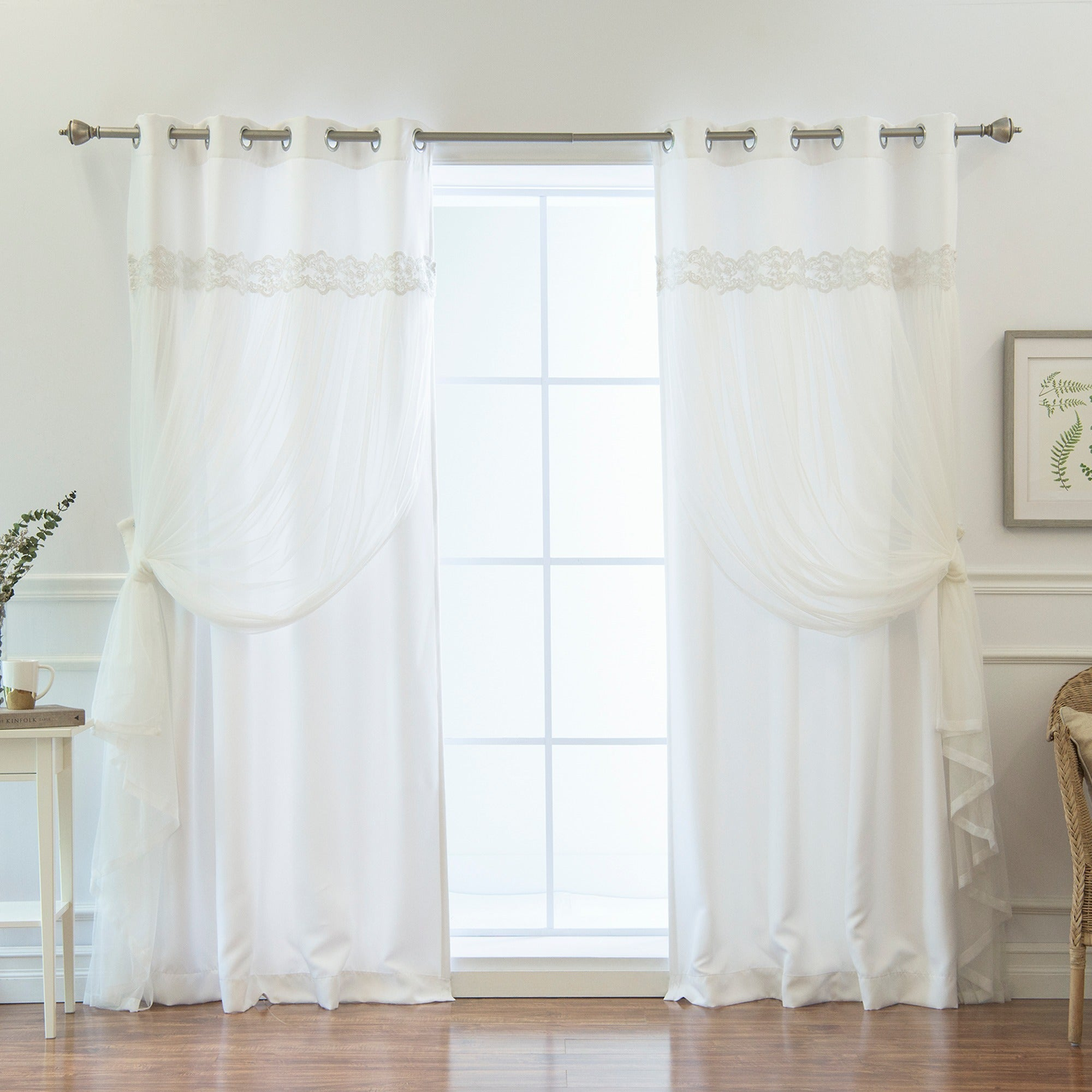 Aurora Home Solid White Lace Overlay Grommet Top Curtain ...