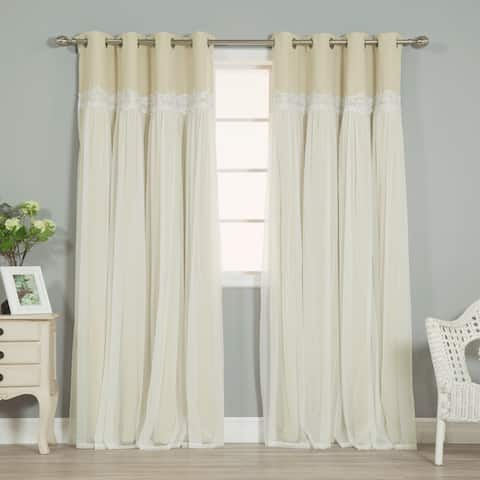 Aurora Home Lace Overlay Propose Blackout Grommet Curtain Pair