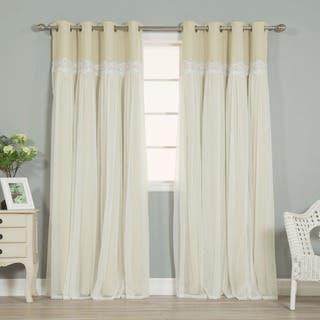 Aurora Home Lace Overlay Propose Blackout Grommet-top Curtain Panel Pair|https://ak1.ostkcdn.com/images/products/12072399/P18939783.jpg?impolicy=medium