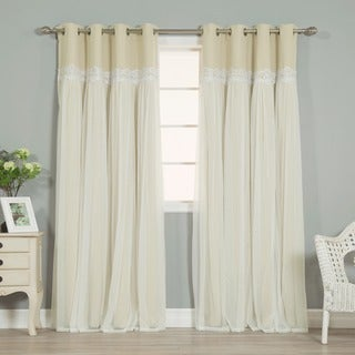 Aurora Home Lace Overlay Propose Blackout Grommet-top Curtain Panel Pair