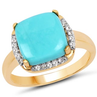 Malaika 14k Yellow Goldplated 0.925 Sterling Silver 3.38 Carat Genuine Turquoise and White Topaz Ring