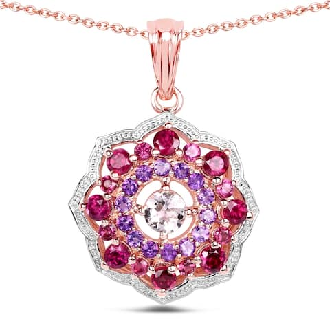 Malaika 14k Rose Gold-plated 0.925 Sterling SIlver 2.30-carat Genuine Morganite and Rhodolite Pendant - White