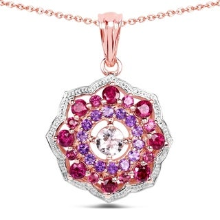 Malaika 14k Rose Gold-plated 0.925 Sterling SIlver 2.30-carat Genuine Morganite and Rhodolite Pendant