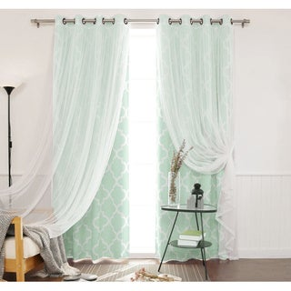 Aurora Home Mix & Match Moroccan Room Darkening and Lace Sheer 4 Piece Curtain Panel Set