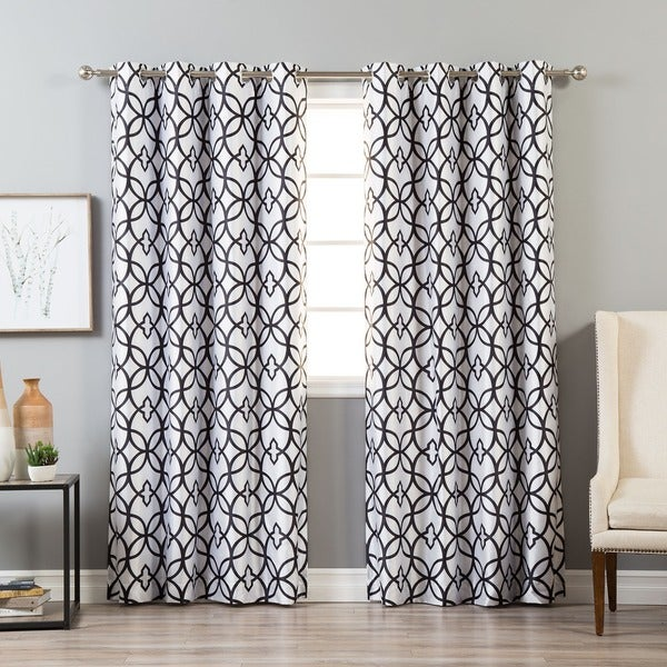 Aurora Home Faux Silk Reverse Geometric Trellis Blackout Curtain Panel - 52 x 84