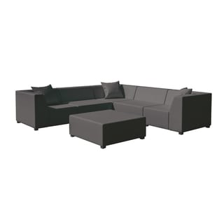 Amsterdam Graphite Corner Unit With Three Corners, Two Armless Chairs, and One Coffee Table