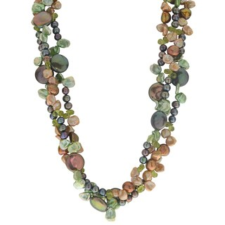 14k Yellow Gold 3-strand 4-13-millimeter Freshwater Pearl and Peridot 18-inch Necklace