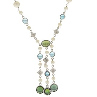 Pearls For You 14k White FWP and Gemstone Necklace