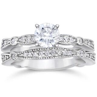 14k White Gold 7/8ct TDW Diamond Vintage Engagement Wedding Ring(I-J, I2-I3)