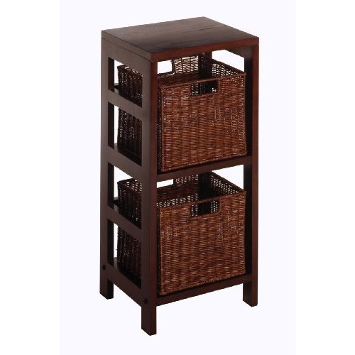 Leo Storage Shelf with Two Small Baskets (Espresso), Brown